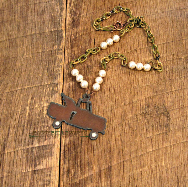 Rustic Winged Truck Camo and Pearls Necklace