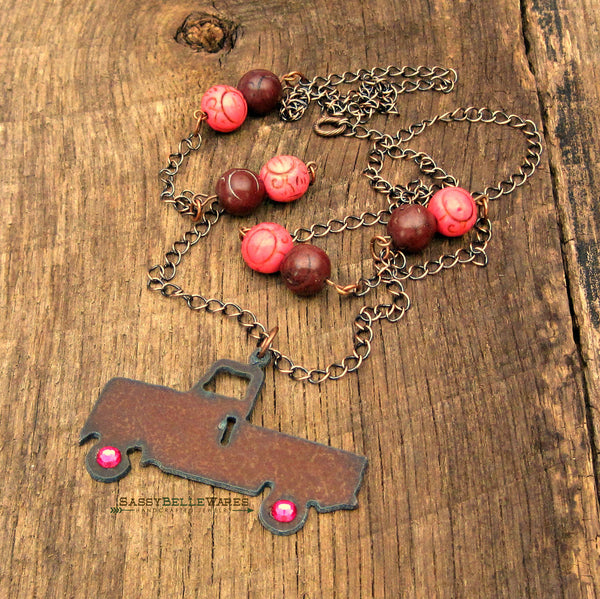 Rustic Truck with Swarovski Crystal Wheels Necklace