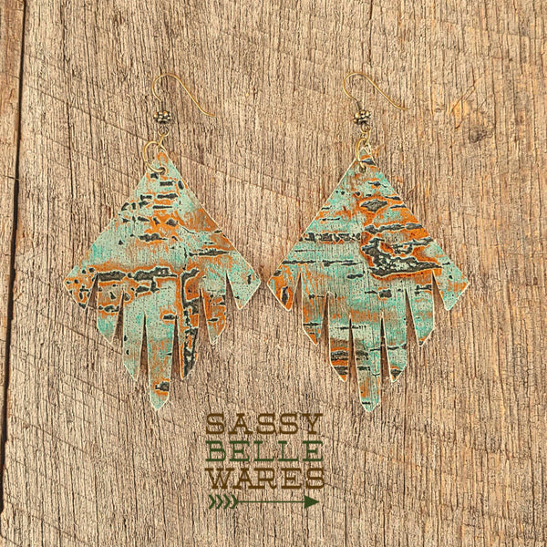 Leather Fringed Diamond Shaped Earrings Turquoise and Gold