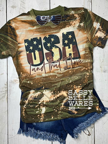 USA Land That I Love Tee - Camo Bleached
