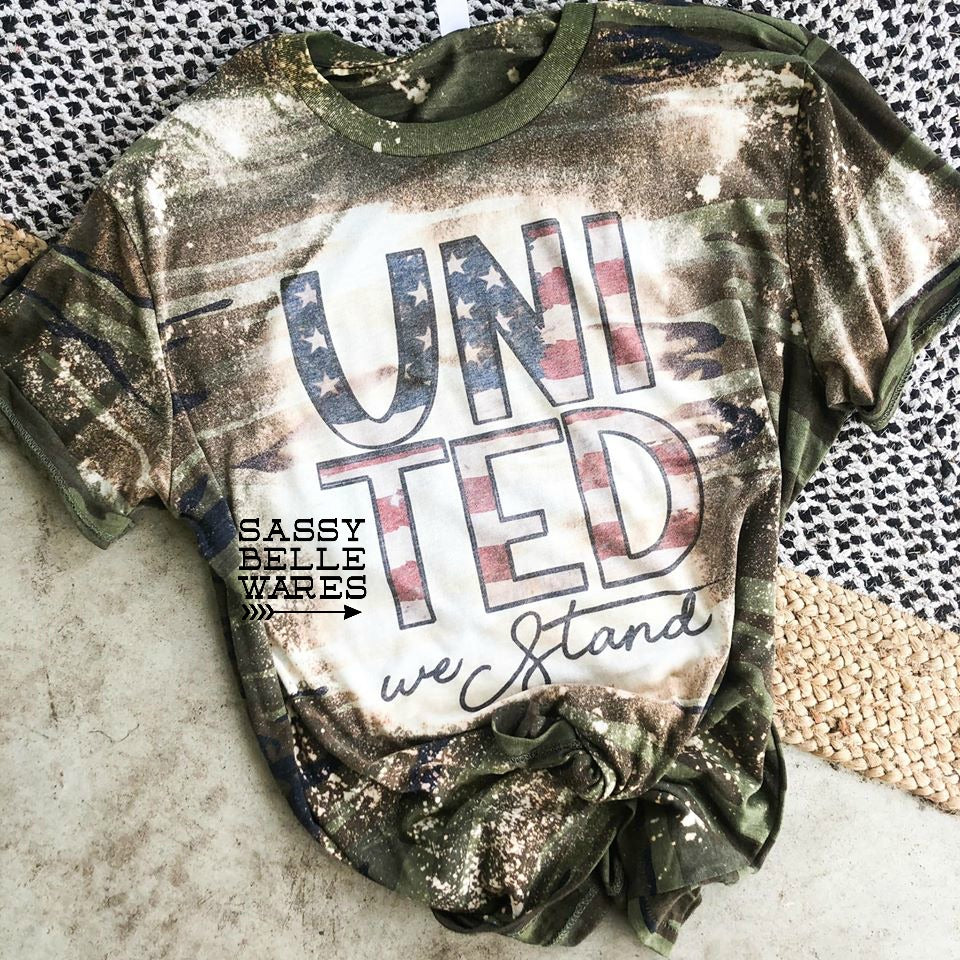 United We Stand Tee - Camo Bleached