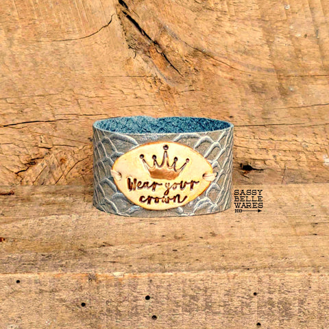 Wear Your Crown Leather Cuff Bracelet