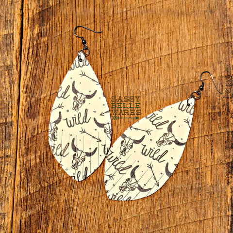 Leather Teardrop Fringe Earrings White and Black Wild Steer Skull