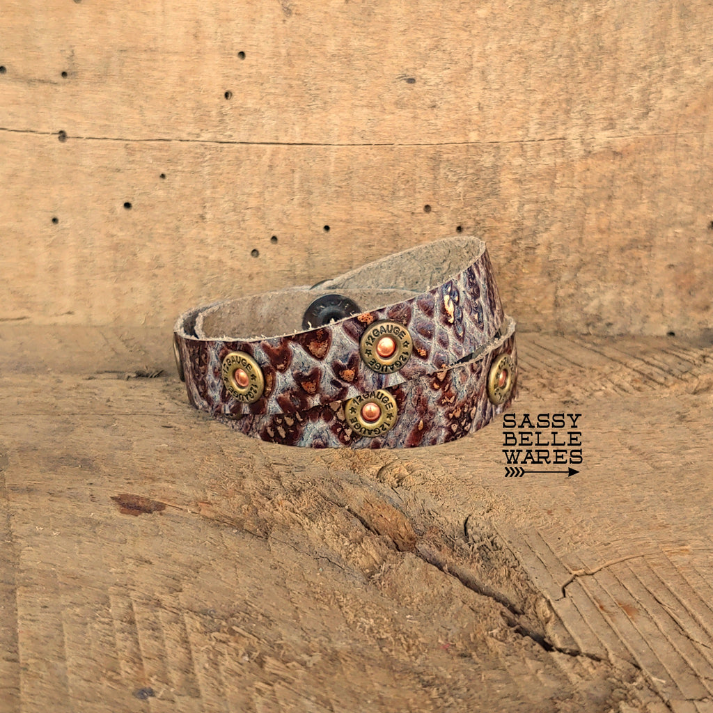 Double Wrap Leather Bracelet with Shotgun Rivets in Ivory Chocolate Silver Snakeskin Pattern