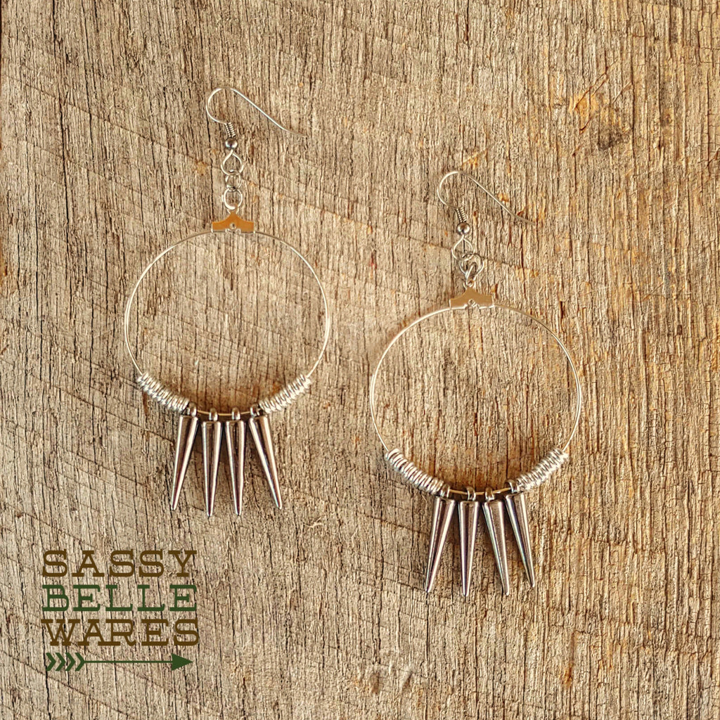 "Hoops Spikes and Beads Earrings 1.75"" Diameter Silver Hoops and Beads Gunmetal Spikes"