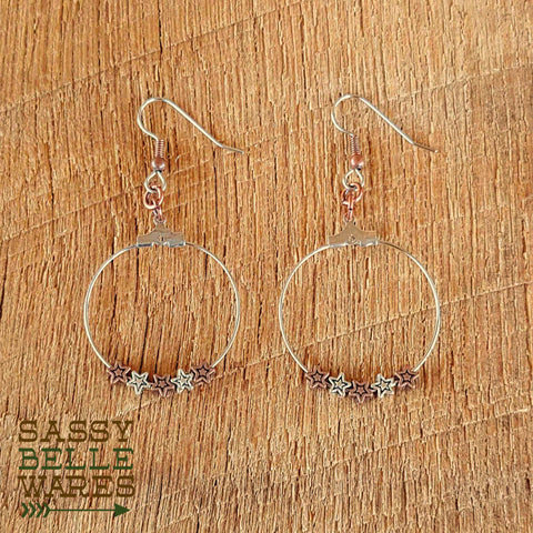 "Star Earrings - Small Hoop 1.25"" Diameter Silver and Copper Stars"