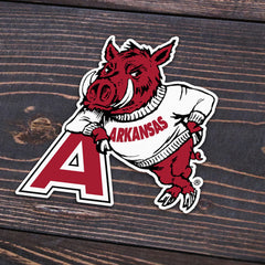 Hog Leaning on A Sticker