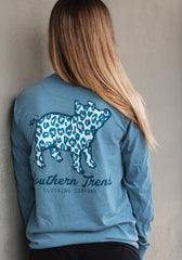 Navy Leopard Pig Long Sleeve