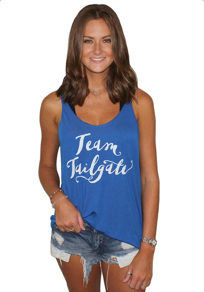 Blue Team Tailgate Flowy Tank Top