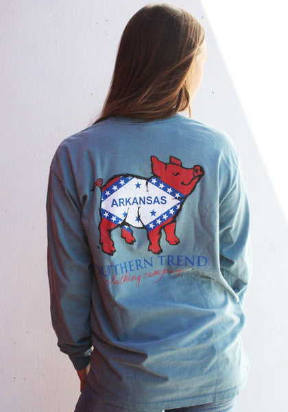 Arkansas Flag Pig Long Sleeve T-shirt