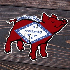 Arkansas Flag Pig Sticker