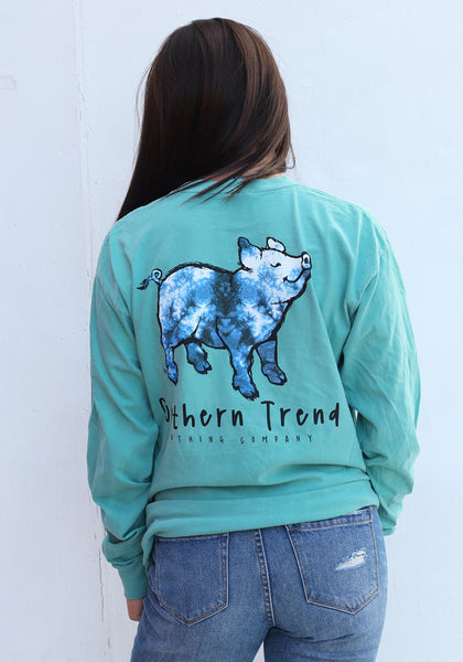 Blue Tie Dye Pig Long Sleeve