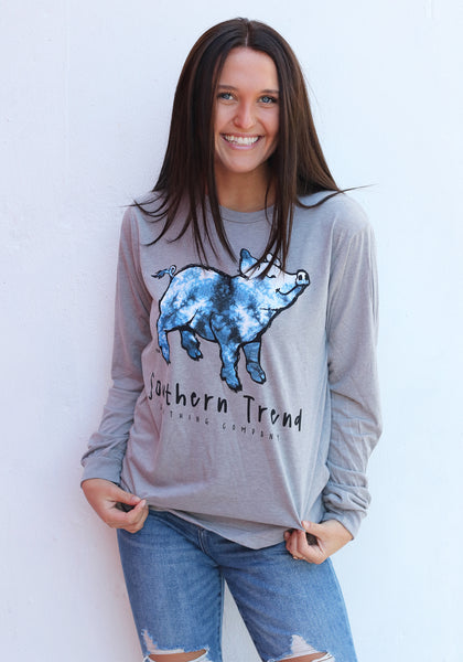 Blue Tie Dye Triblend Long Sleeve