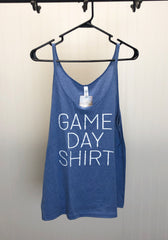 Game Day Flowy Tank Top - Blue