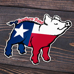 Texas Flag Pig Sticker