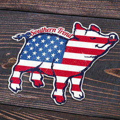 American Flag Pig Sticker