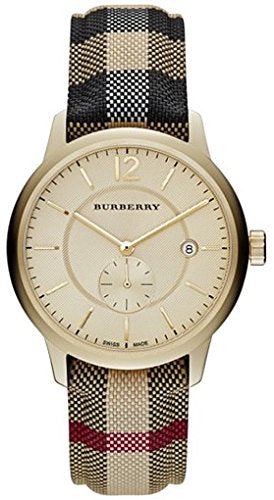 Burberry watch Unisex Swiss Honey Check Gold-Tone Fabric Strap Watch 40mm BU10001/BU10002
