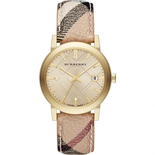 Burberry watch The City Champagne Dial Haymarket Check Strap Unisex Watch BU9026