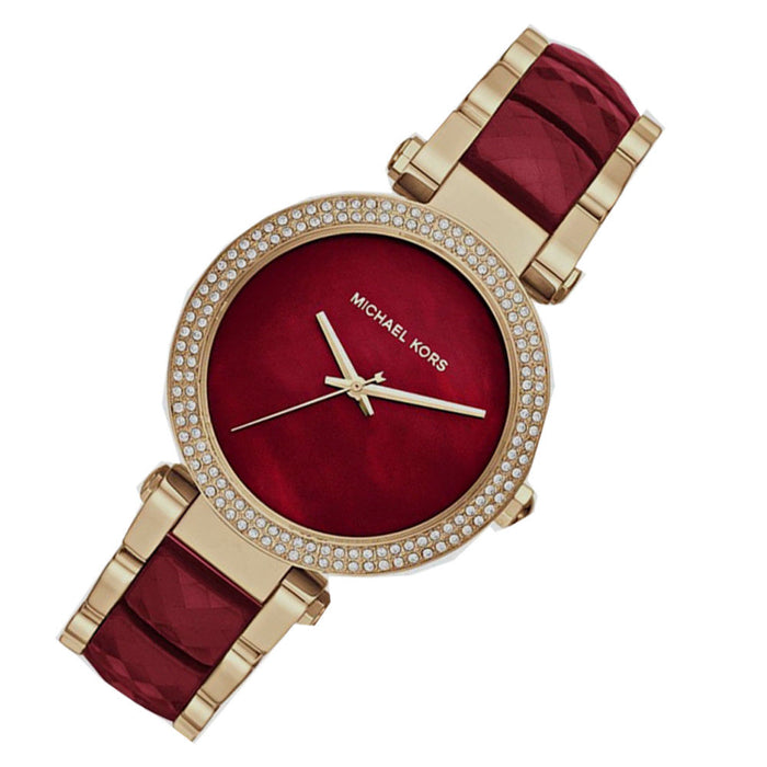 New Michael Kors watch MK6427 39mm Parker Red Choronograph and Gold Women's Watch
