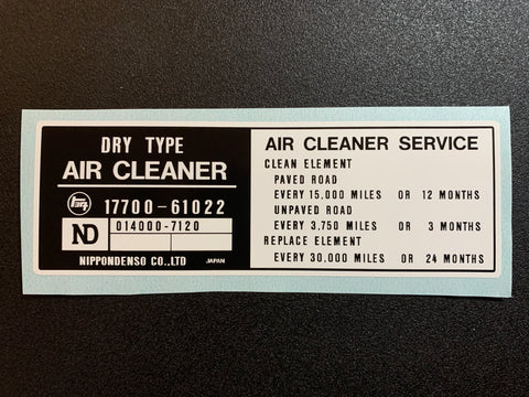 Air Cleaner Decal for '79 to '80 Land Cruiser FJ40 FJ45 FJ55