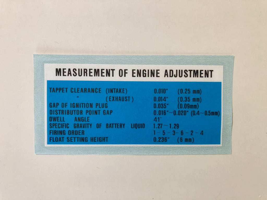 Engine Adjustment Decal for '62 to '64 Land Cruiser FJ40