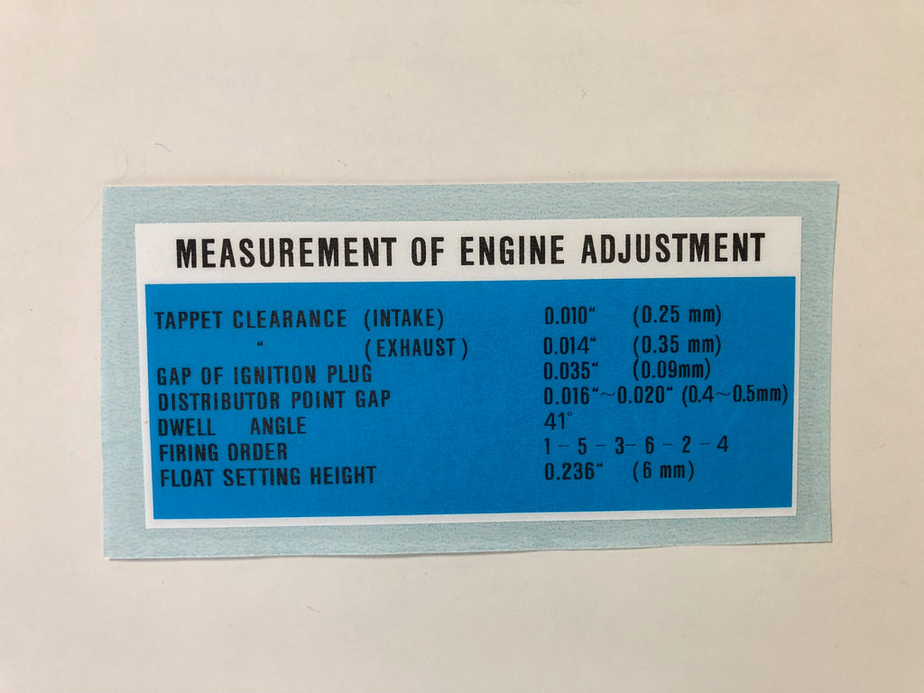 Engine Adjustment Decal for '65 to '67 Land Cruiser FJ40