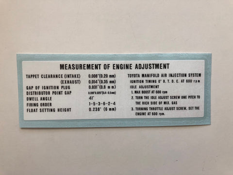 Engine Adjustment Decal for '68 to '74 Land Cruiser FJ40