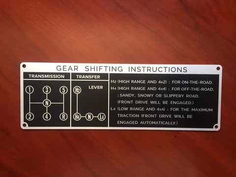 5 Speed Gear Shift Instruction Plate for Land Cruiser FJ40