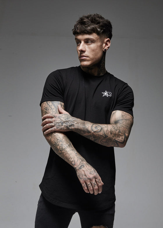 Curved Hem T-Shirt (Black)
