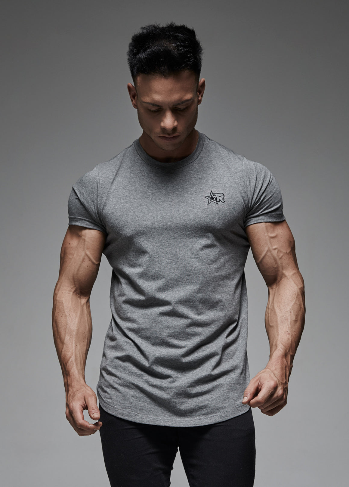 Curved Hem T-Shirt (Grey)