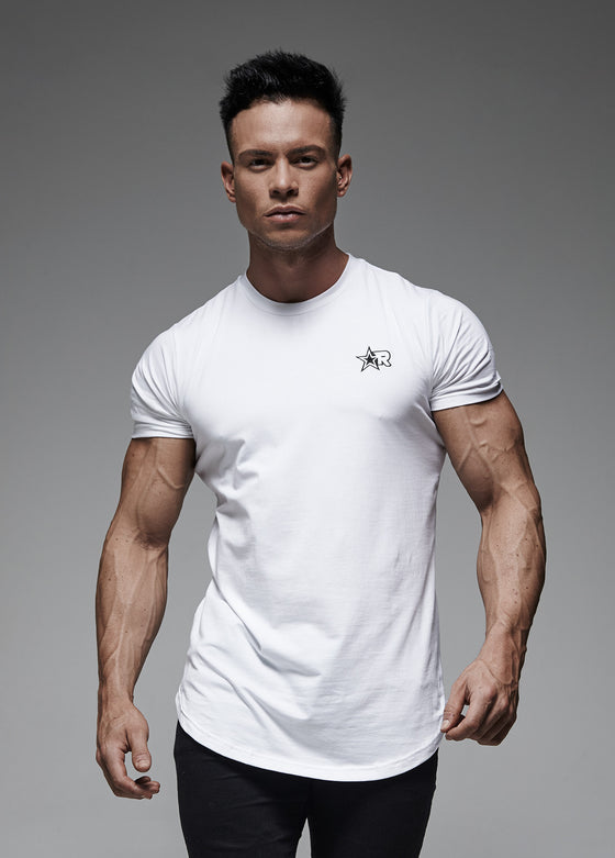 Curved Hem T-Shirt (White)