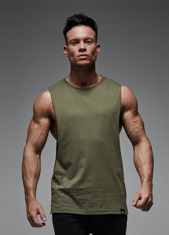 Long-Line Sleeveless T-Shirt (Khaki)