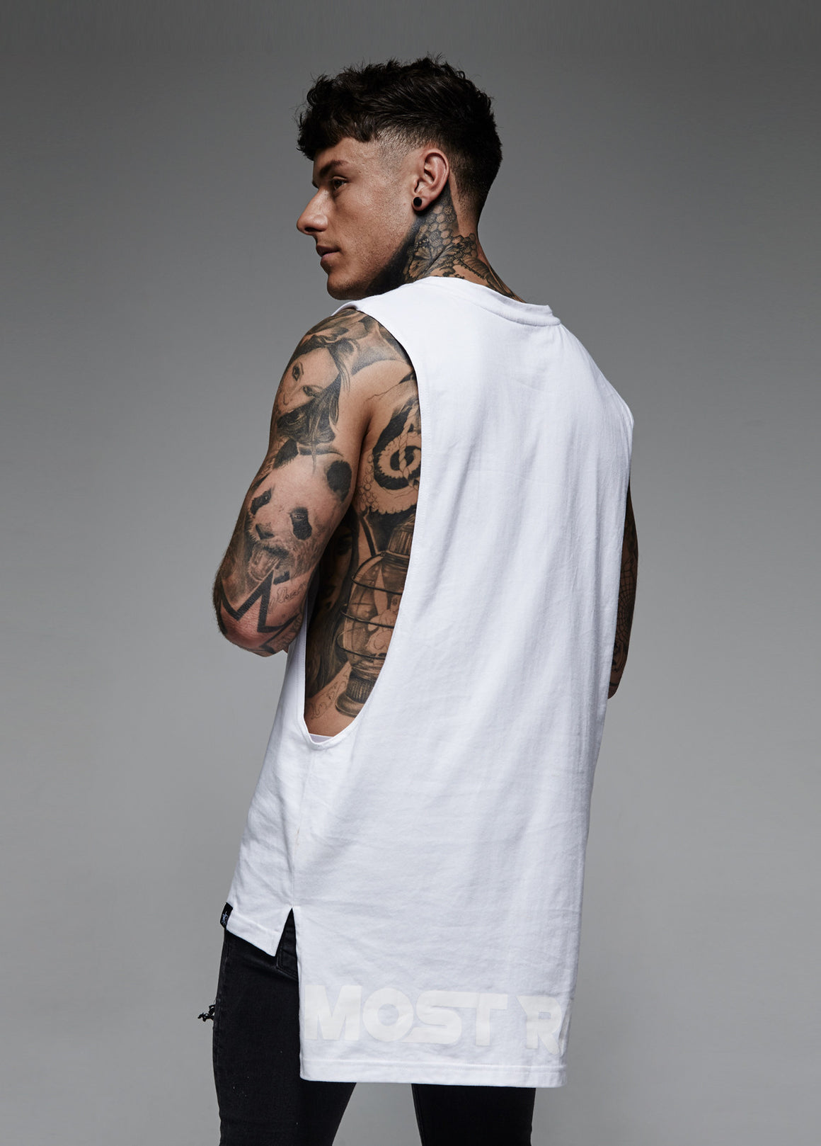 Longline Sleeveless T Shirt White Most Rated