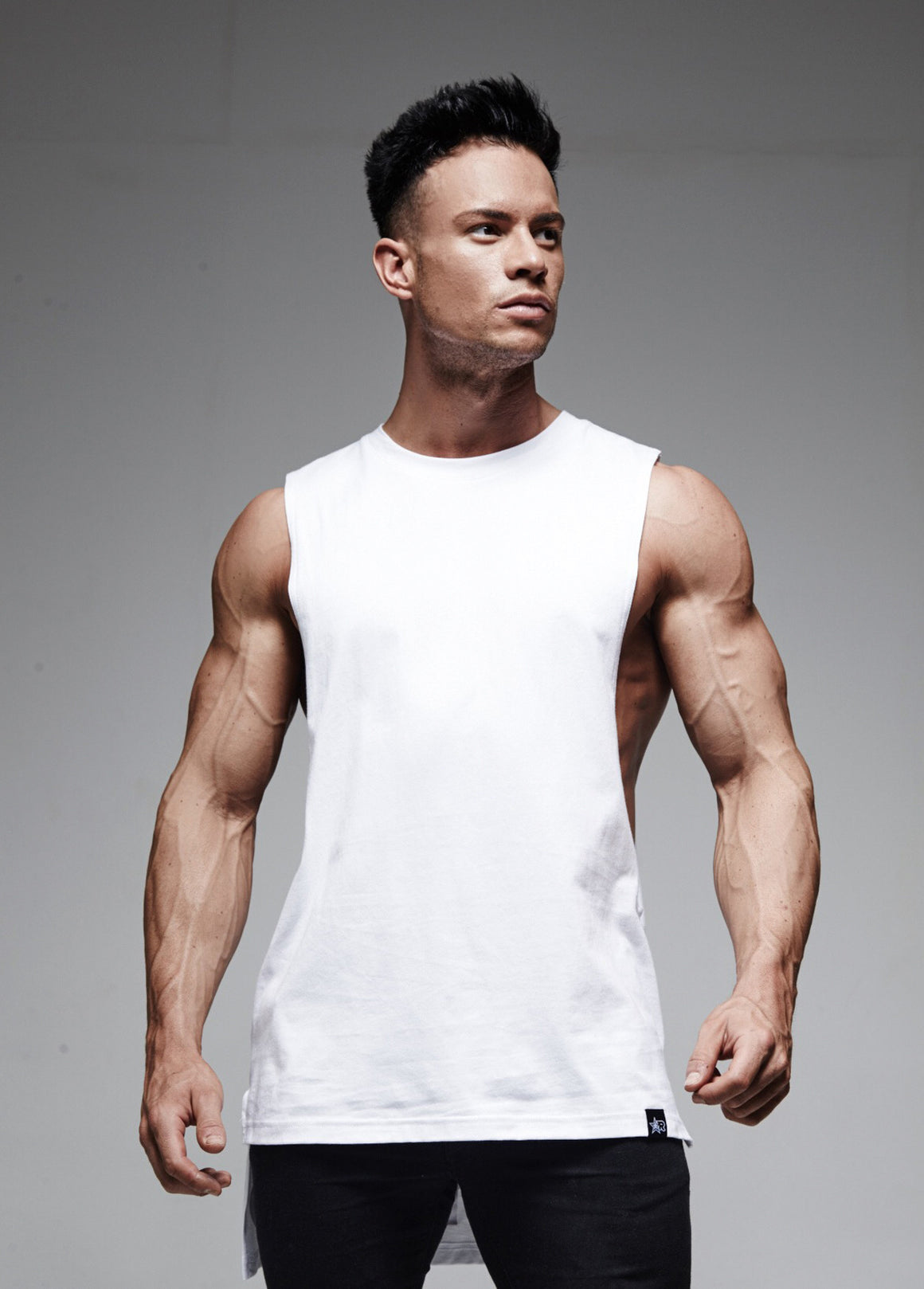 Long-Line Sleeveless T-Shirt (White)