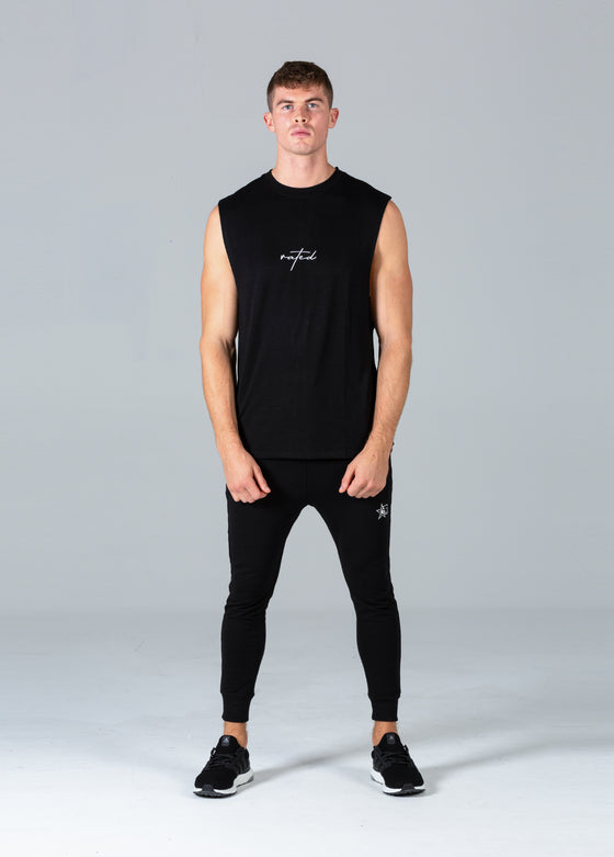 Rated Script Cut Off T-Shirt (Black)