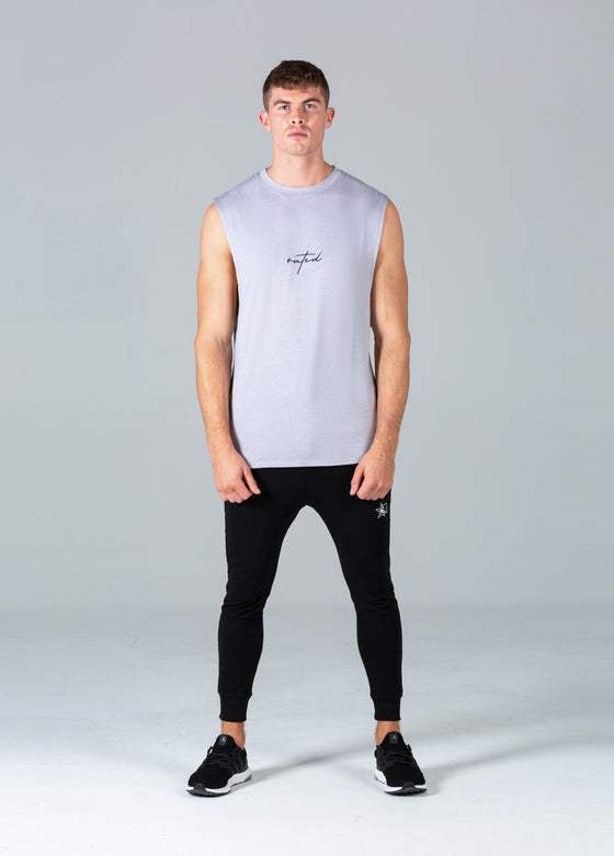 Rated Script Cut Off T-Shirt (Stone)