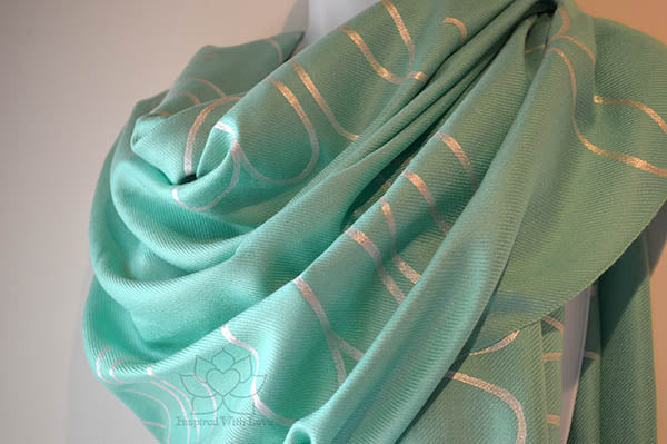 Custom Personalized Script Message Quote Aqua Green Pashmina Shawl - Inspired With Love - Wedding Gifts, Bridesmaid Proposal, Mother of Bride gifts