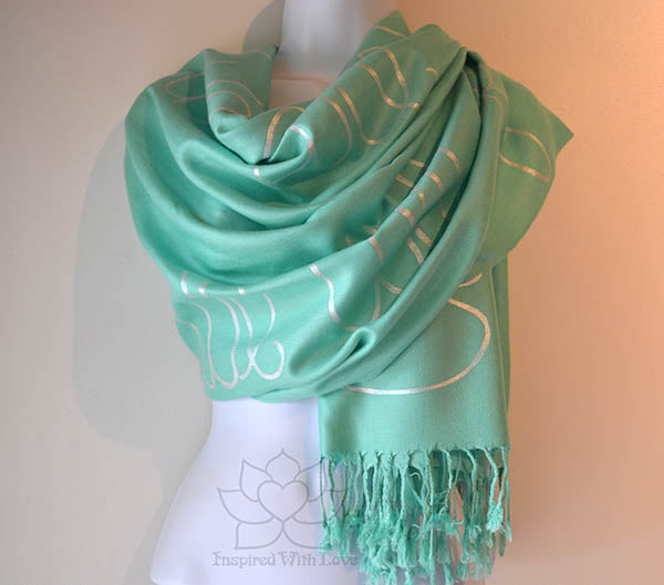 Custom Hand-painted Script Aqua Green Scarf (Viscose/Acrylic blend) - Made to Order