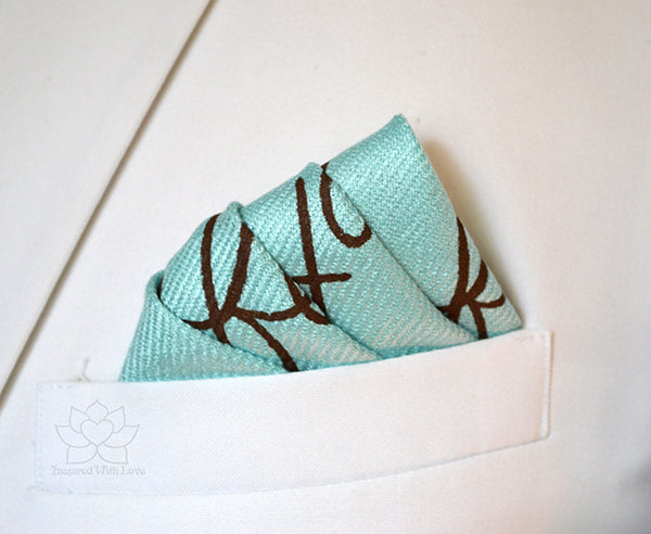 Custom Hand-painted Script Baby Blue Pocket Square - Father Of Bride, Groomsman Proposal, Best Man Proposal, Will You Be My Best Man, Gifts for Dad, Gifts for Him, Inspired With Love