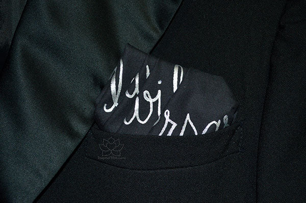 Custom 100% Classic Cotton Hand-painted Script Black Pocket Square - Made to Order