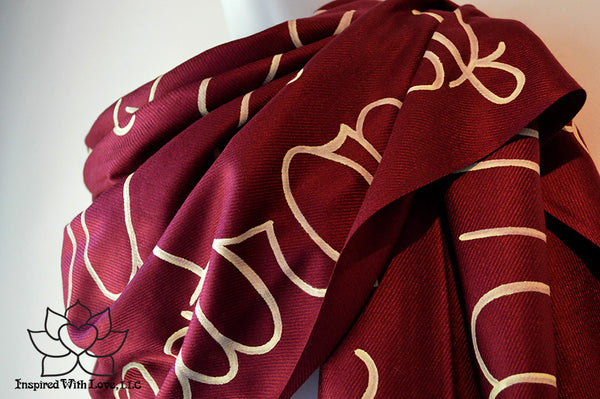 Custom Message Script Burgundy Pashmina Scarf by Inspired With Love, Bridesmaid Proposal, Mother's day gift, anniversary, friendship