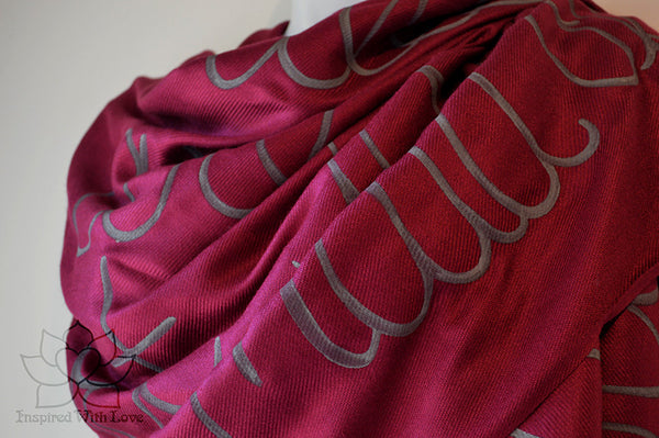 Custom Hand-painted Script Pashmina Burgundy Scarf (Viscose/Acrylic blend) - Made to Order