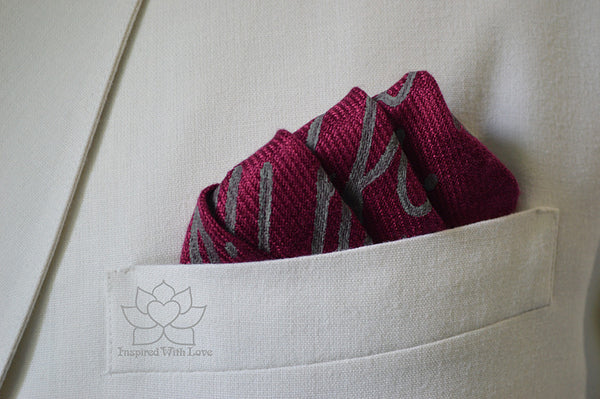 Custom Personalized Message Script Pocket Square, Groomsmen Proposal, Father of Bride - Inspired With Love