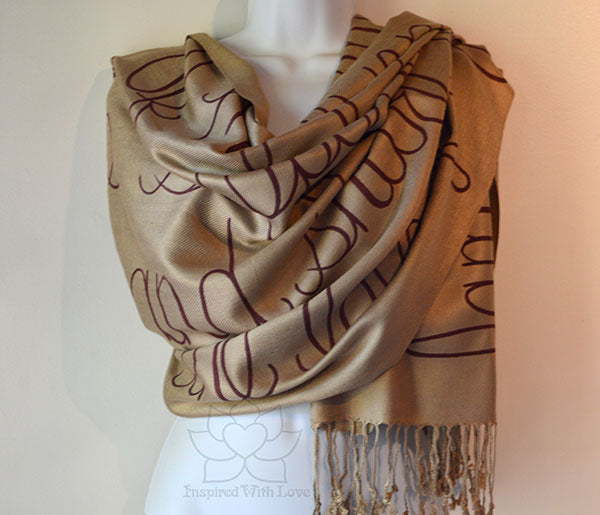 Custom Personalized Hand-painted Message Script Pashmina Champagne Scarf - Inspired With Love