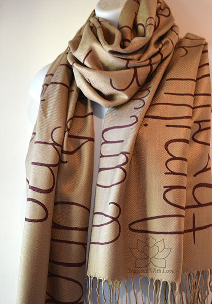 Custom Hand-painted Script Pashmina Champagne Scarf (Viscose/Acrylic blend) - Made to Order