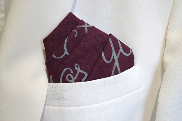 Custom 100% Classic Cotton Hand-painted Script Burgundy Pocket Square - Made to Order