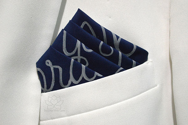 Custom Personalized 100% Classic Cotton Hand-Painted Message Script Navy Pocket Square - Inspired With Love