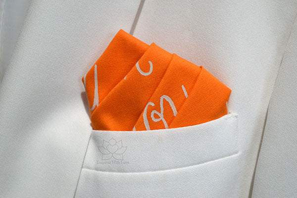 Custom 100% Classic Cotton Hand-painted Script Orange Pocket Square - Made to Order