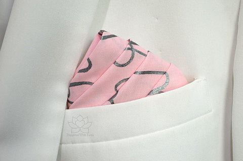 Custom Personalized 100% Classic Cotton Hand-Painted Message Script Pink Pocket Square - Inspired With Love