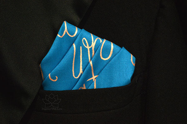 Custom 100% Classic Cotton Hand-painted Script Teal Pocket Square - Made to Order